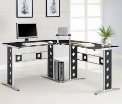 L Shaped Computer Table Office Glass Office Desk Ideas Using Black Glass For Corner