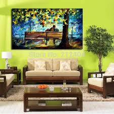 frameless picture hanging snuggle on the park bench modern oil painting printed on canvas