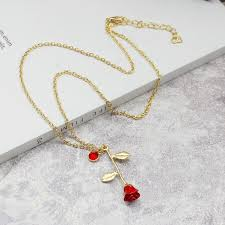 s day necklace with birthstone charms necklaces women redrose pendant necklace