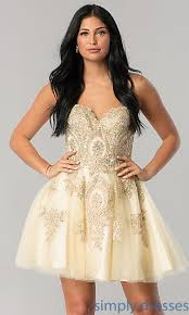 gold party dress beaded homecoming party dress with corset