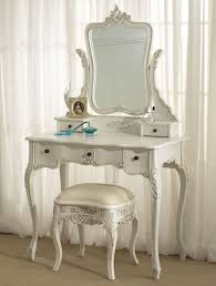 adorable vinage vanity table design with bench on brown floor as
