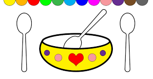 learn colors for kids soup cooking kitchen soup bowl coloring page