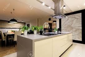 cuisine travertin appartement urbain intérieur de la cuisine avec le mur en