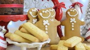 festive food with gingerbread fruit cake and
