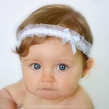 baby headbands uk baby white organza headband with satin diamante bow