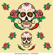 sugar skull flower stock vector 713524921