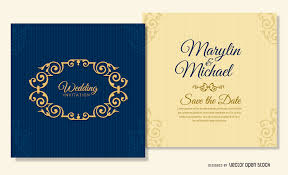 weeding card navy blue wedding card template vector