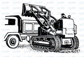 retro clipart excavator with truck authentic vintage european