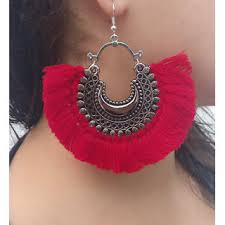 red necklace women images Buy verceys silver oxidized red thread afghani beautiful jhumki jpg