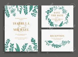 wedding invitations greenery vintage wedding set with greenery wedding invitation save the