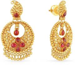 malabar earrings malabar gold and diamonds yellow gold 22kt chandbali earring price