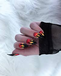 flame nails set of 10 fire stiletto nails