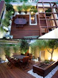terrace garden design couryard water feature bamboo grass pictures