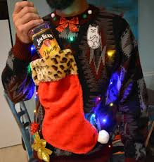 wine holder ugly christmas sweater light up mens large christmas