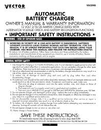 vector automobile battery charger vec090 user guide