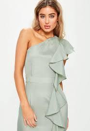 green one shoulder frill maxi dress missguided ireland