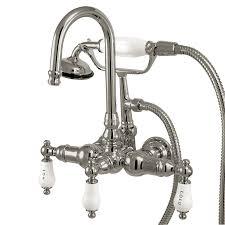vintage bathtub faucets shop kingston brass vintage chrome 3 handle fixed deck mount bathtub