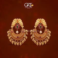 earrings in grt 22k gold chandbali earrings from grt gold earrings designs gold