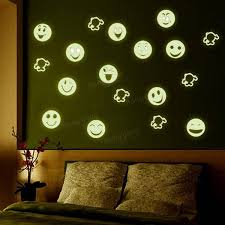 Glow In The Dark Home Decor Luminous Cartoon Smiling Face Decals Wall Ceiling Glow In The Dark