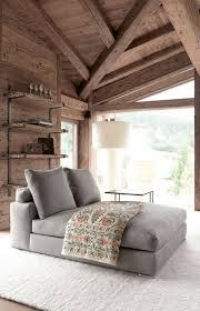 canapé style chalet chambre à coucher lit mur et soupente bois brut style chalet