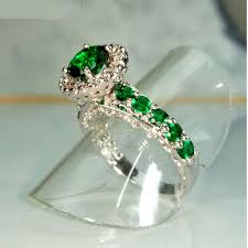 engagement rings green images Vintage emerald green wedding rings women promise wedding couple jpg