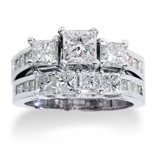 overstock wedding ring sets 14k white gold 3 5ct tdw princess cut diamond 3 bridal ring