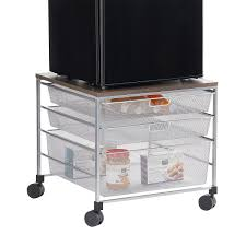 Small Under Desk Refrigerator Fridge Cart Platinum Elfa Mesh Compact Fridge Cart The
