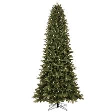 shop ge 9 ft pre lit aspen fir slim artificial tree with