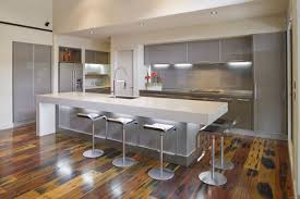 Kitchen Islands With Bar Stools Modern White Grey Kitchen Decoration Using Stainless Steel Kitchen