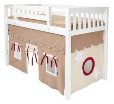 play fort mid loft bed by maxtrix kids khaki red on white 400 1