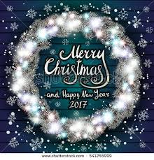 merry christmas happy new year lettering stock illustration
