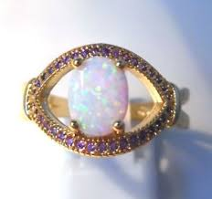size 9 ring in uk fabulous gold plated white opal amethyst oval ring uk size r