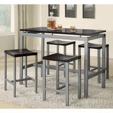coaster atlas collection 5 pc counter height set in black silver
