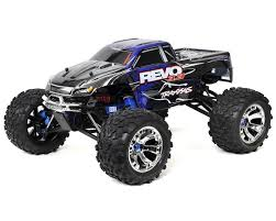 nitro gas rc monster trucks revo 3 3 4wd rtr nitro monster truck w tqi blue by traxxas