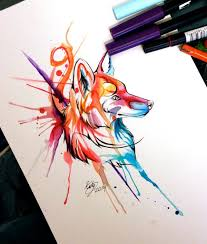 cool watercolor fox tattoo design in smudges by lucky978 tattoo