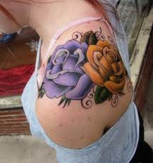 purple and yellow roses shoulder tim senecal the best