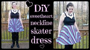 diy sweetheart neckline skater dress w circle skirt how to sew