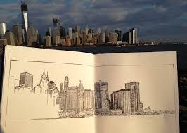 manhattan skyline from jersey city sketch u2013 november 2012