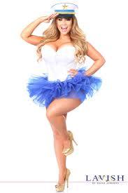 plus size costume white blue sailor tutu corset plus size costume
