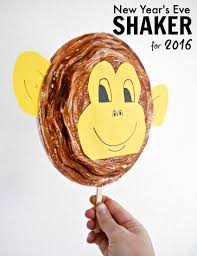 Paper Plate Monkey Craft - monkey plate shaker for new year s make and takes