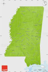United States Physical Map by Physical Map Of Mississippi Single Color Outside