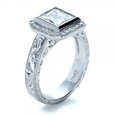 princess cut halo engagement ring custom princess cut halo engagement ring 1209