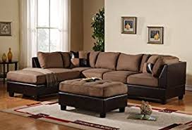 large sectional sofa with ottoman amazon com 3 piece modern reversible microfiber faux leather