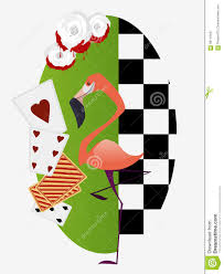 alice in wonderland white roses with red paint flamingo croquet