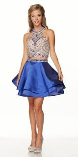 juliet 777 two piece short prom dress halter embellished bodice
