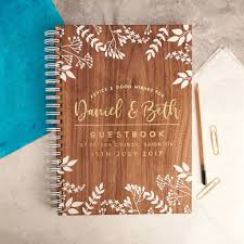Wedding Wishes Book Personalised Gold Foiled Walnut Wedding Guest Book