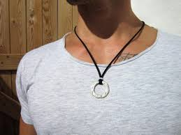 ring necklace pendant images Mens necklaces mens necklace pendant mens ring necklace etsy jpg