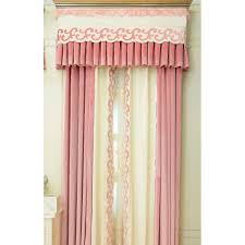 pink color block geometric embroidery elegant velvet bedroom curtains