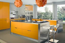 design your own kitchen using yellow and silver thermofoil design your own kitchen using yellow and silver thermofoil cabinets in grey floor tiles with orange