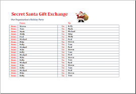 santa gift list secret santa gift exchange list template excel templates